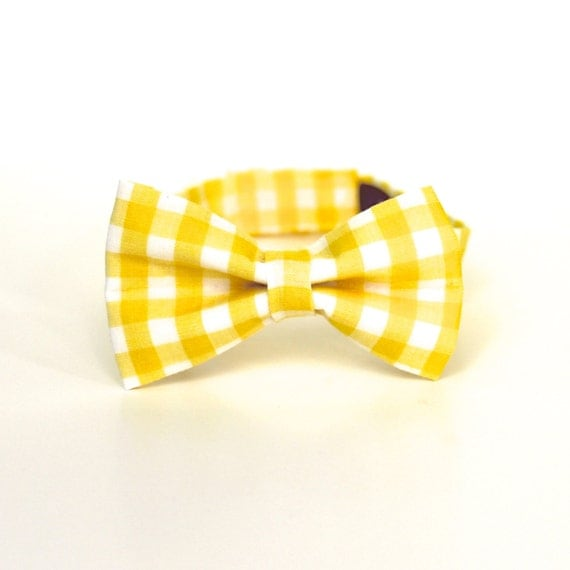 Baby Boy's Bow Tie - Yellow Gingham - Yellow and White Checks