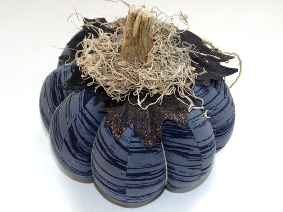 Fabric pumpkin, black grey, fall decor, table centerpiece, Thanksgiving pumpkin, rustic farmhouse country decor, Halloween pumpkin