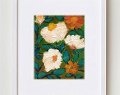 """Abstract Floral Painting, White Flowers Art Print 8x10"""", Contemporary Bohemian Floral Art for Home Decor #7"""
