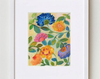 """Abstract Floral Painting, Warm Flowers Art Print 8x10"""", Contemporary Bohemian Floral Art for Home Decor #8"""