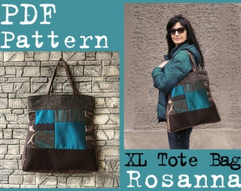 PDF Sewing Pattern to make Large Quilt Tote Bag Rosanna XL size Instant DOWNLOAD patchwork handbag vegan Buy one tutorial and get one free