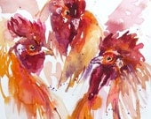 Hen Party Chicken Watercolor Print y Maure Bausch