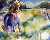 Morning Run Horse Watercolor  Print by Maure Bausch