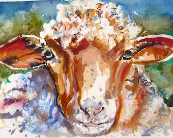 Mixed Media Sheep Print by Maure Bausch