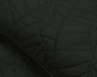 cotton bedspread oyster green leaf quilt pattern King size bedspread bedding coverlet embroidered contemporary quilt