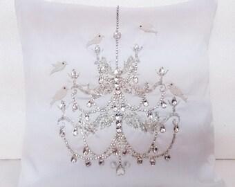 chandelier bird pillow white sequins pillow ornate paris pillow home decor vintage style decorative pillow bedroom pillow 16x16 pillow