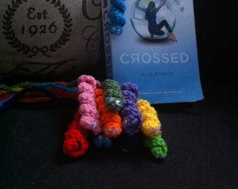 Set of Crochet bookworm bookmarks