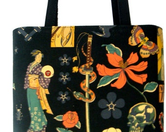 "US Handmade Handbag Shoulder Bag With "" Zen Tattoo Skeleton"" Pattern Cotton Fabric , New, Rare"