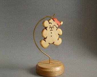 CHRISTMAS ORNAMENT! Wooden Teddy bear