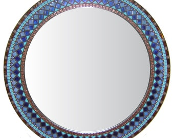 Mosaic Wall Mirror - Brown, Cobalt, Turquoise & Copper
