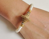 Gold Filled Filigree Bead with Culture Pearl Clear Crystal Rondell Wire Bangle Bracelet / Gift for Her / Statement Bracelet
