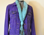 "Violet Small Denim JACKET - Purple Hand Dyed Upcycled Sonoma Denim Trucker Jacket - Adult Womens Size Small (40"" chest)"