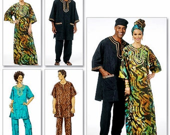 Unisex Caftan Pattern, Caftan and Pants Pattern, His and Hers Tunic Pattern, Butterick Sewing Pattern 5725