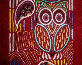 Large Mola Owl Embroidered Quilt Fabric Block
