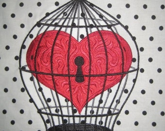 X Large Bird Cage Heart Embroidered Quilt Block