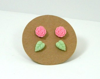 Pastel Stud Earring Set - Pink Flower Earrings - Green Leaf Studs - Stud Set