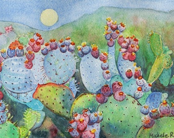 Prickly Pear Cactus Watercolor Painting by Michele Ross Artist