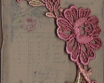 Hand Dyed Floral Venise Lace Applique   Aged Rose Bliss