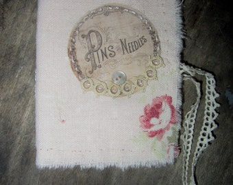 Shabby Blush Pink with Rose's Linen  Vintage Lace  Tattered Needle Book