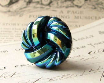 22mm round aqua infinity swirl, endless knot, Czech glass shankless button, hand painted, flat back cabochon, chartreuse, royal blue