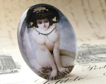 Naked woman cabochon, blue sky, white body, black hair, handmade 40x30 40x30mm 30x40mm 40 30 mm glass oval cabochon