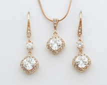 Bridal Jewelry Set, Rose Gold Cushion Cut Cubic Zirconia Earring and Necklace Set, Rose Gold Wedding Jewelry Set, Crystal Bridal Set