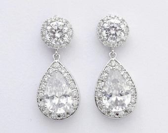 Wedding Crystal Earrings Bridal Jewelry Silver Clear Cubic Zirconia Earrings Large Teardrop Bridal Earrings Wedding Jewelry, Ena