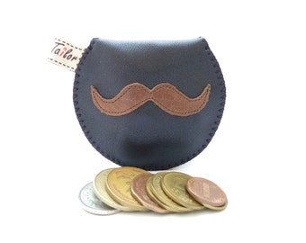 Mustache Mini Coin Pouch / Black Leather and Recycled Necktie Mini Gypsy Guys / Ready to Ship to US / Made to Order International