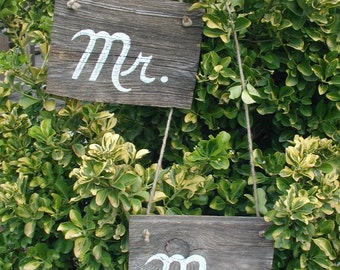 Ready to Ship Script Mr and Mrs X Large Western Rustic Wedding Sign Bridal Barn Wood Bride Groom Rope Hanging