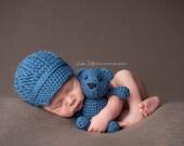 Newborn Hat, Newsboy Hat and Bear set, Boy Hat, Photography Prop