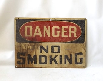 vintage 1960's metal industrial sign danger no smoking wall hanging red white black decorative home decor mid century modern retro men small