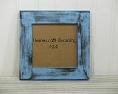 4X4 Picture Frame Distressed Blue Black Shabby Chic Wooden Photo Frame