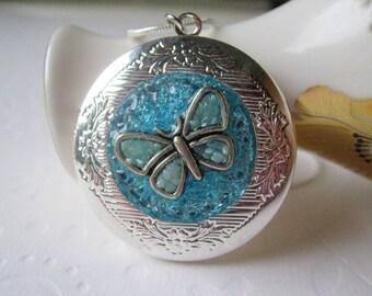 Butterfly Locket Personalized Locket Custom Locket Silver Blue Stained Glass Secret Message Hidden Quote Necklace Friendship Locket