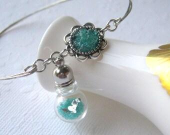 Mermaid Bracelet Mermaid Bangle Bracelet Glass Vial Seascape Turrainium Bracelet Sea Blue Mermaid Tears Sea Glass Stained Glass