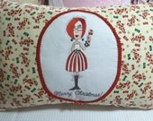 CLEARANCE SALE REDUCED 50% Fun & Funky Christmas Cotton Print Decor Pillow Wacky Lady with Candy Cane -- Whimsey, Humor -- Red Fringe Sides