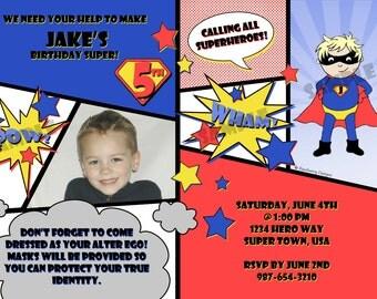 Superhero Birthday Invitation Superhero Invitation Superhero Party Boys Birthday Invite Superhero Theme Comic Book Invite Printable Invite