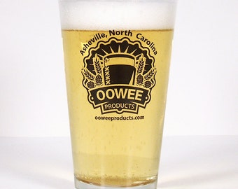 16 oz Pint Glass with Oowee Products Logo