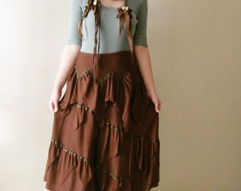Woodland Brown tattered skirt with braided belt or headband. Upcycled recycled ,Bohemian clothing