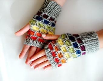 Knitting Pattern PDF Fingerless Gloves, rainbow, honeycomb PDF Pattern, PDF Knitting pattern, glove pattern knitting