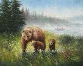 Bear Country Original Oil Painting 16X20 mother bear, cubs forest, lake, canvas paintings, canoe, rustic, bear paintings, Vickie Wade art