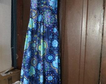 vintage  hippie  paisley print nylon halter top maxi sun dress  beach dress   sz 10  by Peter Pan