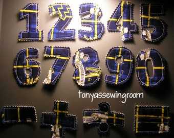 0-9 Numbers Plush Magnet Set-Math Symbols-Learning-Fabric-West Virginia Fabric Yellow and Blue Ready to ship