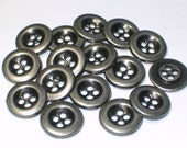 11mm Antiqued Silver Color Metal Buttons Sewing Buttons with holes Set 16