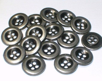 SALE 11mm Antiqued Silver Color Metal Buttons Sewing Buttons with holes Set 16
