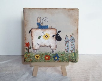 Mini Canvas With Easel   Primitive Sheep Spring     Hand Painted