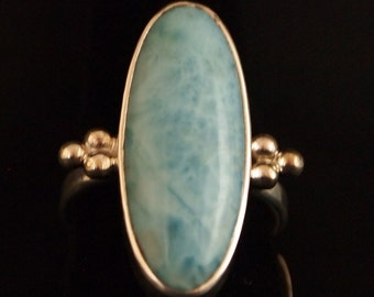 Sterling Silver and Larimar Ring Size 7