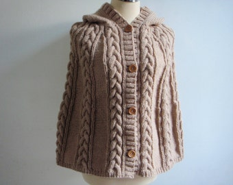 Cable Knitted style Poncho capelett in Brown