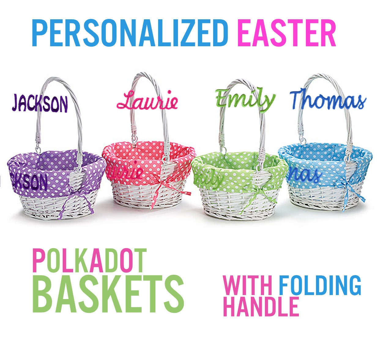 Personalized Easter Basket White Wicker Easter Baskets By
