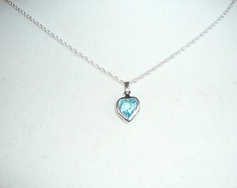 Tiny Heart Necklace, March birthstone, aquamarine Swarovski  crystal,