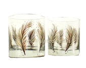 Mens Highball Cocktail Glasses - Hand Painted Feathers in Natural Brown, Gold Accents Set of 4 - Hand Painted Rocks Whiskey Cocktail Glasses